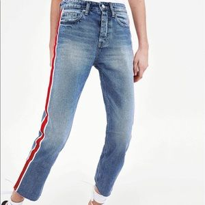 Zara High Rise Straight Leg Striped Pants Sz 6